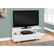 "Monarch Specialties TV Stand, 48""L  White with 2 Storage Drawers (I 2605)"
