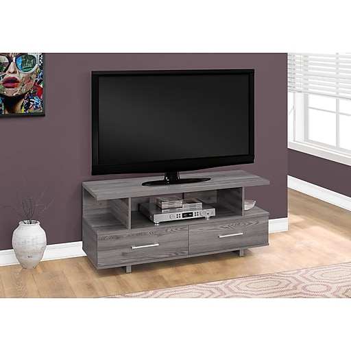 Monarch Specialties Tv Stand 48 L Grey With 2 Storage Drawers I