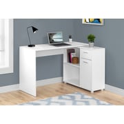 "Monarch Specialties 46"" Long Computer Desk With Storage Cabinet, White (I 7350)"