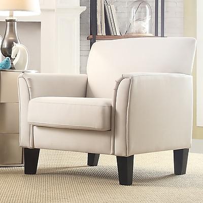HomeBelle Espresso Finish White Linen Chair (789913WL1TL)