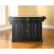 Crosley Alexandria Natural Wood Top Kitchen Island in Black Finish (KF30001ABK)