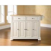 Crosley Alexandria Natural Wood Top Kitchen Island in White Finish (KF30001AWH)