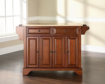 Crosley LaFayette Natural Wood Top Kitchen Island in Classic Cherry Finish (KF30001BCH)