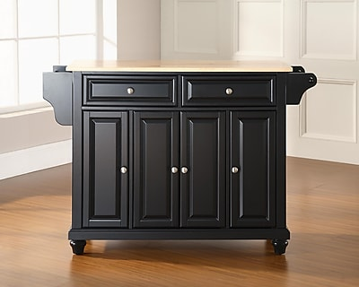 Crosley Cambridge Natural Wood Top Kitchen Island in Black Finish (KF30001DBK)