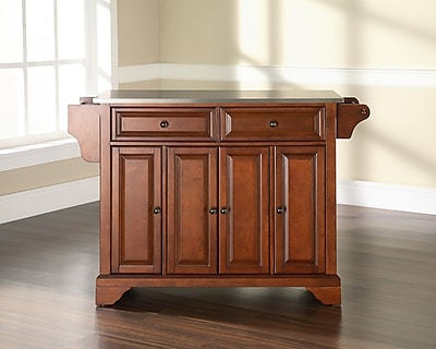 Crosley LaFayette Stainless Steel Top Kitchen Island in Classic Cherry Finish (KF30002BCH)