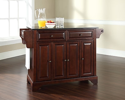 Crosley LaFayette Solid Black Granite Top Kitchen Island in Vintage Mahogany Finish (KF30004BMA)