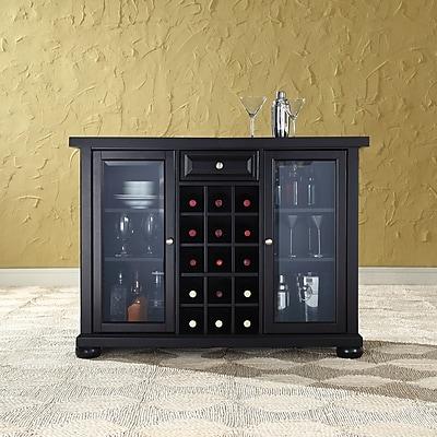 Crosley Alexandria Sliding Top Bar Cabinet in Black Finish (KF40002ABK)