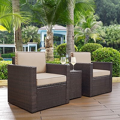 Crosley Palm Harbor 3-Piece Outdoor Wicker Conversation Set With Sand Cushions - Two Arm Chairs & Side Table (KO70055BR-SA)