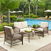 Crosley Tribeca 4 Piece Outdoor Wicker Seating Set With Sand Cushions - Loveseat, 2 Arm Chairs, And Coffee Table (KO70037DW-SA)