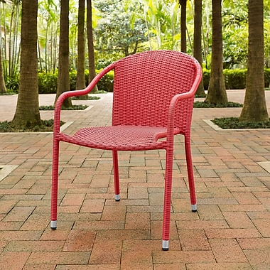 Crosley Palm Harbor Outdoor Wicker Stackable Chairs - Set Of 4 Red (CO7109-RE)