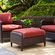 Crosley Kiawah Outdoor Wicker Ottoman With Sangria Cushions (CO7119-BR)