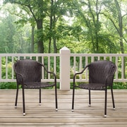 Crosley Palm Harbor Outdoor Wicker Stackable Chairs - Set Of 2 Brown (CO7137-BR)