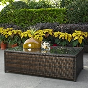 Crosley Palm Harbor Outdoor Wicker Glass Top Table (CO7201-BR)