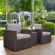 Crosley Palm Harbor 3-Piece Outdoor Wicker Conversation Set With Grey Cushions - Two Arm Chairs & Side Table (KO70055BR-GY)