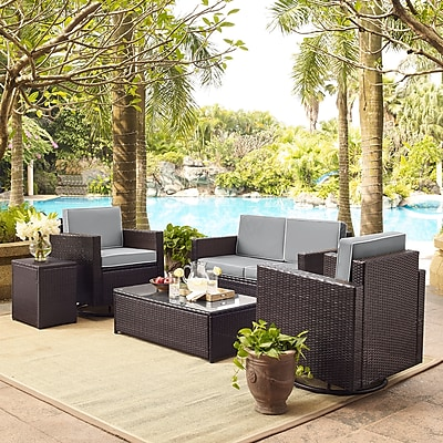 Crosley Palm Harbor 5-Piece Outdoor Wicker Conversation Set With Grey Cushions (KO70056BR-GY)