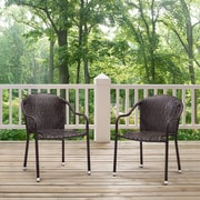 Crosley Palm Harbor 3 Piece Outdoor Wicker Café Seating Set In Brown -- 2 Stacking Chairs And Round Side Table (KO70060BR)