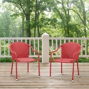 Crosley Palm Harbor 3 Piece Outdoor Wicker Café Seating Set In Red-- 2 Stacking Chairs And Round Side Table (KO70060RE)