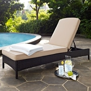 Crosley Palm Harbor Outdoor Wicker Chaise Lounge In Brown With Sand Cushions (KO70093BR-SA)
