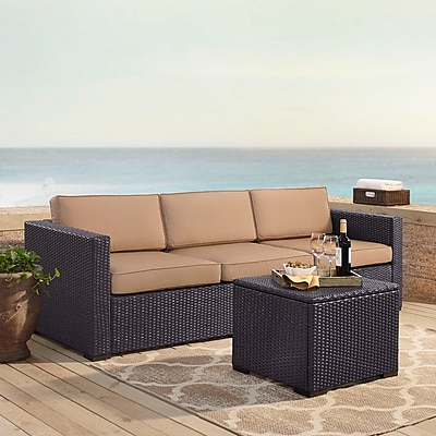 Crosley Biscayne 3 Person Outdoor Wicker Seating Set In Mocha - One Loveseat, One Corner & Coffee Table (KO70111BR-MO)