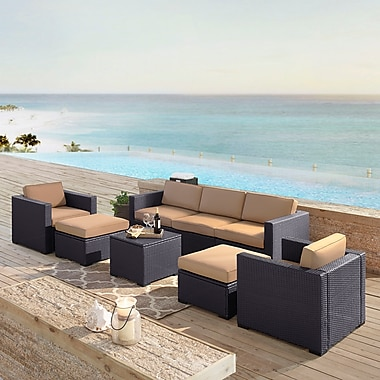 Crosley Biscayne 7 Person Outdoor Wicker Seating Set In Mocha (KO70113BR-MO)