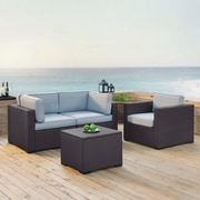 Crosley Biscayne 3 Person Outdoor Wicker Seating Set In Mist   Two Corner  Chairs, One Arm Chair, One Coffee Table (KO70115BR MI)
