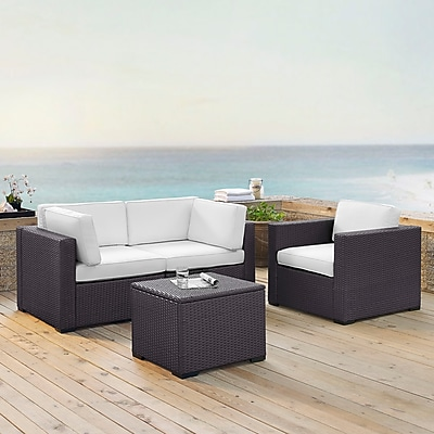 Biscayne 3 Person Outdoor Wicker Seating Set In White - Two Corner Chairs, One Arm Chair, One Coffee Table