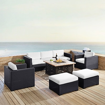 Crosley Biscayne 7 Person Outdoor Wicker Seating Set In White (KO70116BR-WH)
