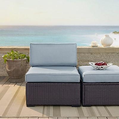 Crosley Biscayne Armless Chair With Mist Cushions (KO70125BR-MI)