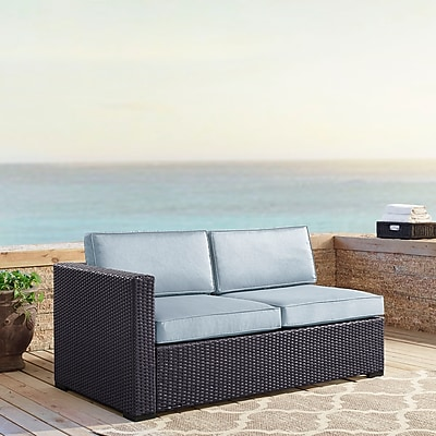 Crosley Biscayne Loveseat With Int. Arm With Mist Cushions (KO70129BR-MI)