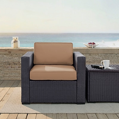 Crosley Biscayne Armchair With Mocha Cushions (KO70130BR-MO)