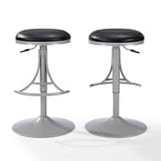 Crosley Jasper Backless Swivel Counter Stool in Platinum with Black Cushion (CF521126PL-BK)