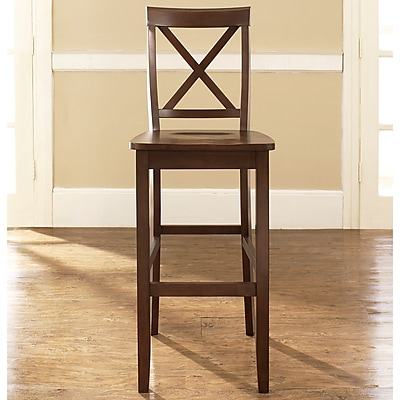 Crosley X-Back Bar Stool in Mahogany Finish with 30 Inch Seat Height. (Set of Two) (CF500430-MA)