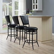 Crosley Rachel Swivel Counter Stool in Black with Black Cushion (CF520026BK-BK)