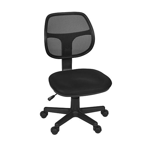 Regency Seating Carter Swivel Office Chair, Black, Armless (5083BK)