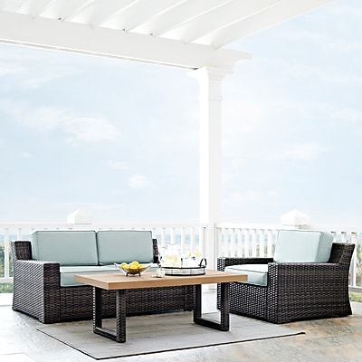 Crosley Beaufort 3 Pc Outdoor Wicker Seating Set With Mist Cushion - Loveseat, Chair , Coffee Table (KO70101BR)