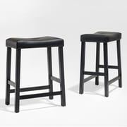 Crosley Upholstered Saddle Seat Bar Stool in Black Finish with 24 Inch Seat Height. (Set of Two) (CF500224-BK)