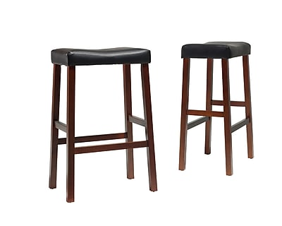 Crosley Upholstered Saddle Seat Bar Stool in Classic Cherry Finish with 29 Inch Seat Height. (Set of Two) (CF500229-CH)