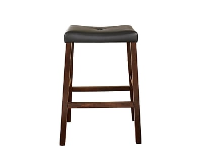 Crosley Upholstered Saddle Seat Bar Stool in Vintage Mahogany Finish with 29 Inch Seat Height. (Set of Two) (CF500229-MA)