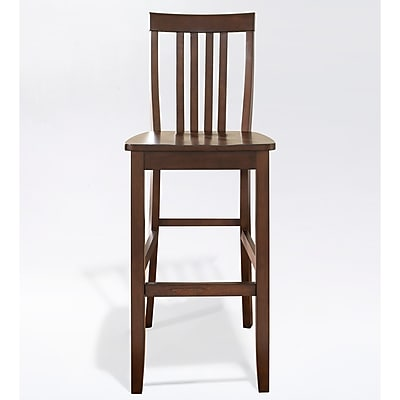Crosley School House Bar Stool in Mahogany Finish with 30 Inch Seat Height. (Set of Two) (CF500330-MA)
