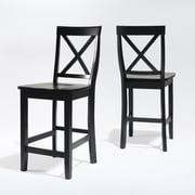 Crosley X-Back Bar Stool in Black Finish with 24 Inch Seat Height. (Set of Two) (CF500424-BK)