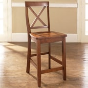 Crosley X-Back Bar Stool in Classic Cherry Finish with 24 Inch Seat Height.  (Set of Two) (CF500424-CH)