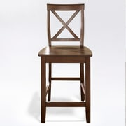 Crosley X-Back Bar Stool in Vintage Mahogany Finish with 24 Inch Seat Height. (Set of Two) (CF500424-MA)