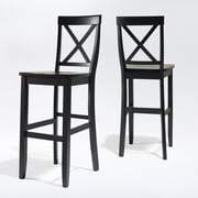 Crosley X-Back Bar Stool in Black Finish with 30 Inch Seat Height.  (Set of Two) (CF500430-BK)