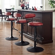 Crosley Jasper Swivel Counter Stool in Black with Red Cushion (CF521026BK-RE)