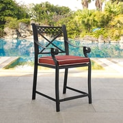 Crosley Portofino Cast Aluminum Bar Height Stools in Charcoal Black Finish with Sangria Cushions (Set of Two) (CO6105BK-SG)