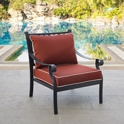 Crosley Portofino Cast Aluminum Arm Chairs in Charcoal Black Finish with Sangria Cushions (Set of Two) (CO6106BK-SG)