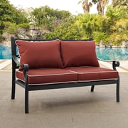 Crosley Portofino Cast Aluminum Love Seat in Charcoal Black Finish with Sangria Cushions (CO6107BK-SG)