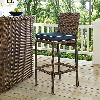 Crosley Bradenton Outdoor Wicker Bar Height Stools (Set Of 2) With Navy Cushions (CO7134WB-NV)