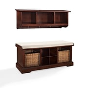 Crosley Brennan 2 Piece Entryway Bench And Shelf Set In Mahogany (KF60001MA)