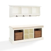 Crosley Brennan 2 Piece Entryway Bench And Shelf Set In White (KF60001WH)